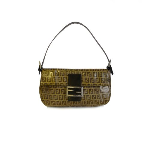 Vintage Fendi Zucchino Monogram PVC Baguette Shoulder Bag in Brown | NITRYL