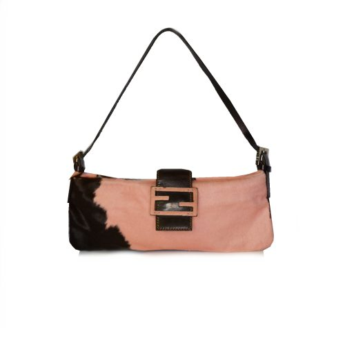 Fendi Calfskin Mini Baguette Bag in Baby Pink Cow Print| NITRYL