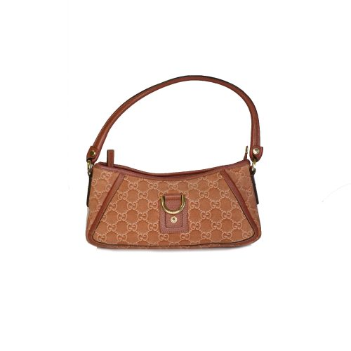 Vintage Gucci Monogram Baguette Shoulder Bag in Salmon Pink | NITRYL