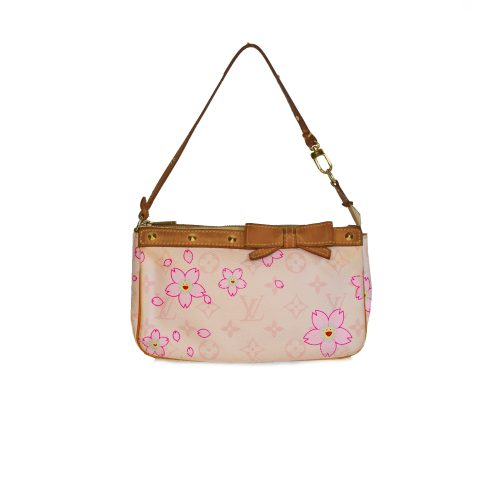 Louis Vuitton Takashi Murakami Cherry Blossom Pochette in Baby Pink | NITRYL