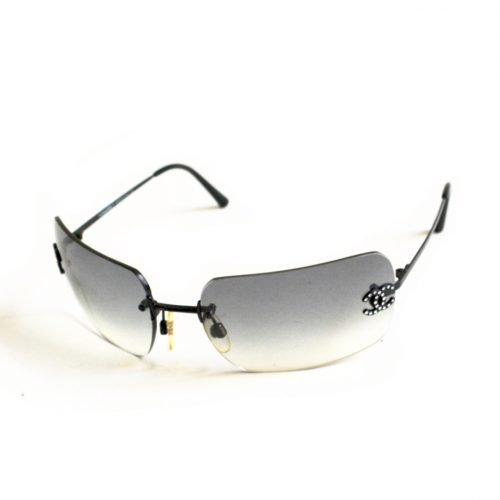 Vintage Chanel Rimless Diamante Sunglasses in Grey | NITRYL