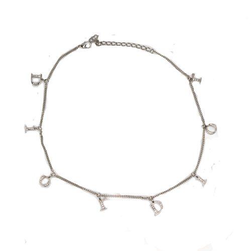 Vintage Dior Diamante Spellout Necklace in Silver | NITRYL