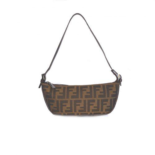 Vintage Fendi Zucca Monogram Crescent Baguette Shoulder Bag | NITRYL