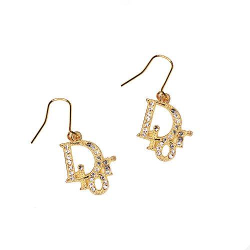 Vintage Dior Diamante Logo Earrings in Gold | NITRYL