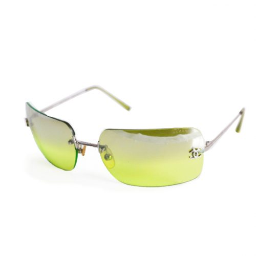 Vintage Chanel Rimless Ombre Sunglasses in Lime Green | NITRYL