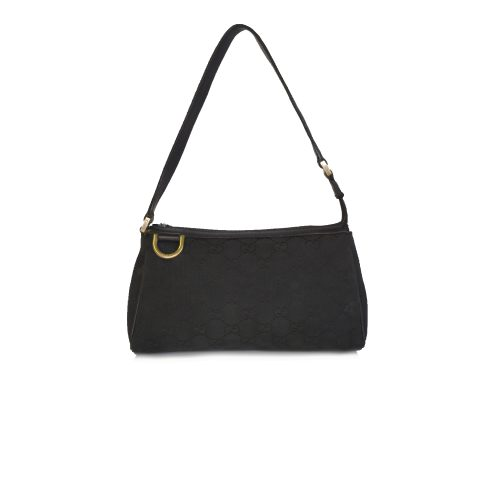 Vintage Gucci Monogram Pochette Mini Shoulder Bag in Black | NITRYL