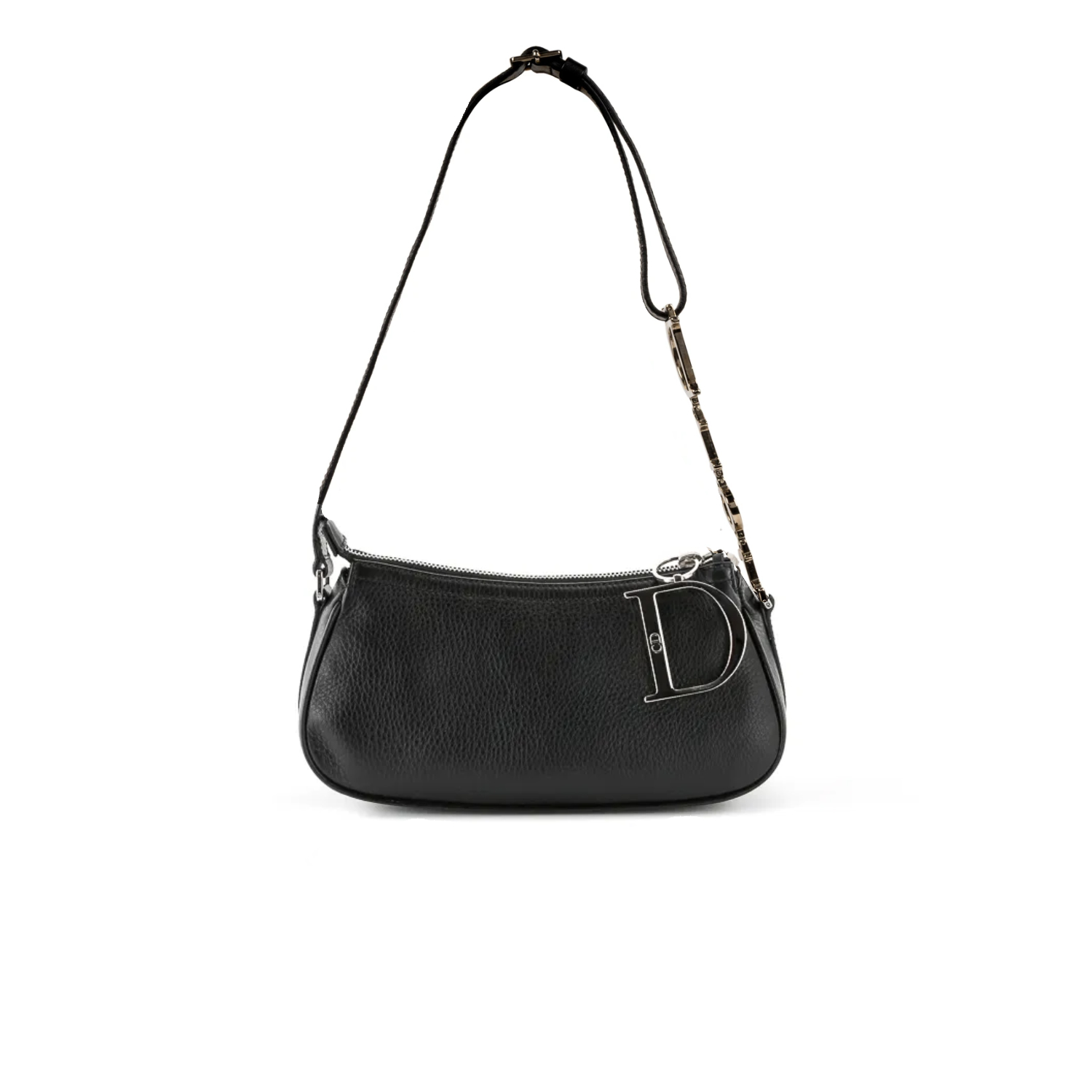 Dior Leather Baguette Baguette Bag with Silver Spellout Strap | NITRYL