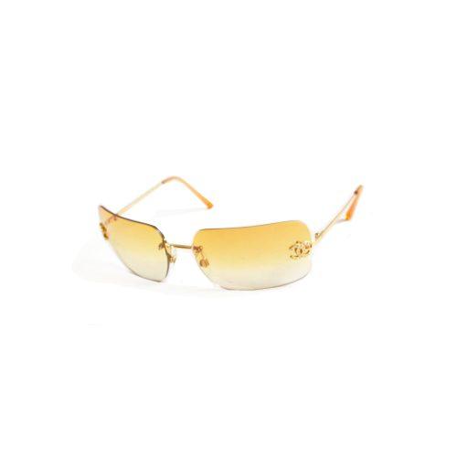 Vintage Chanel Diamante Rimless Ombre Sunglasses in Yellow / Orange | NITRYL