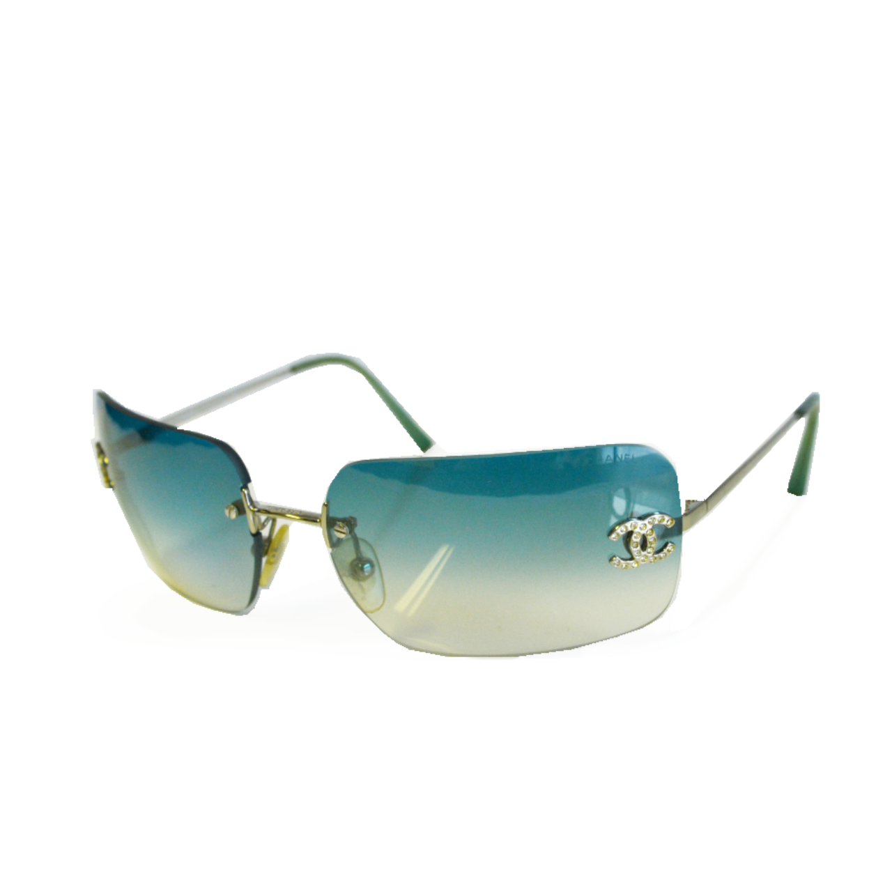 Vintage Chanel Diamante Rimless Sunglasses in Aqua Green/Blue | NITRYL