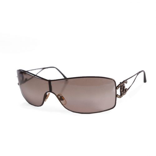 Vintage Chanel Diamante Rimless Shield Sunglasses in Brown | NITRYL