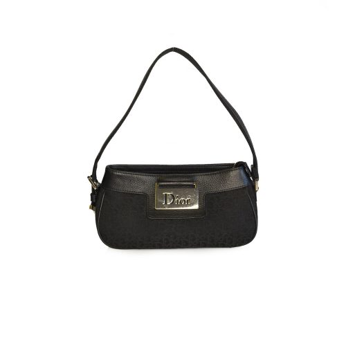 Vintage Dior Monogram Mini Baguette Bag in Black | NITRYL