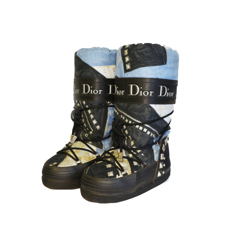 Vintage Dior Denim Print Monogram Snow Boots UK 3-4   NITRYL