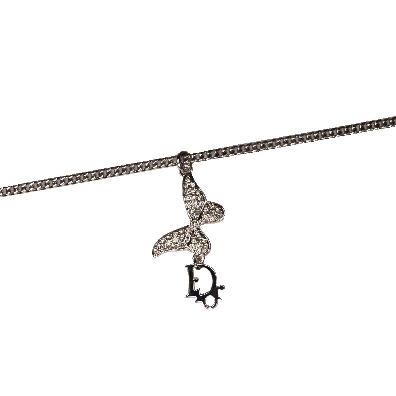Vintage Dior Diamante Butterfly Necklace in Silver | NITRYL