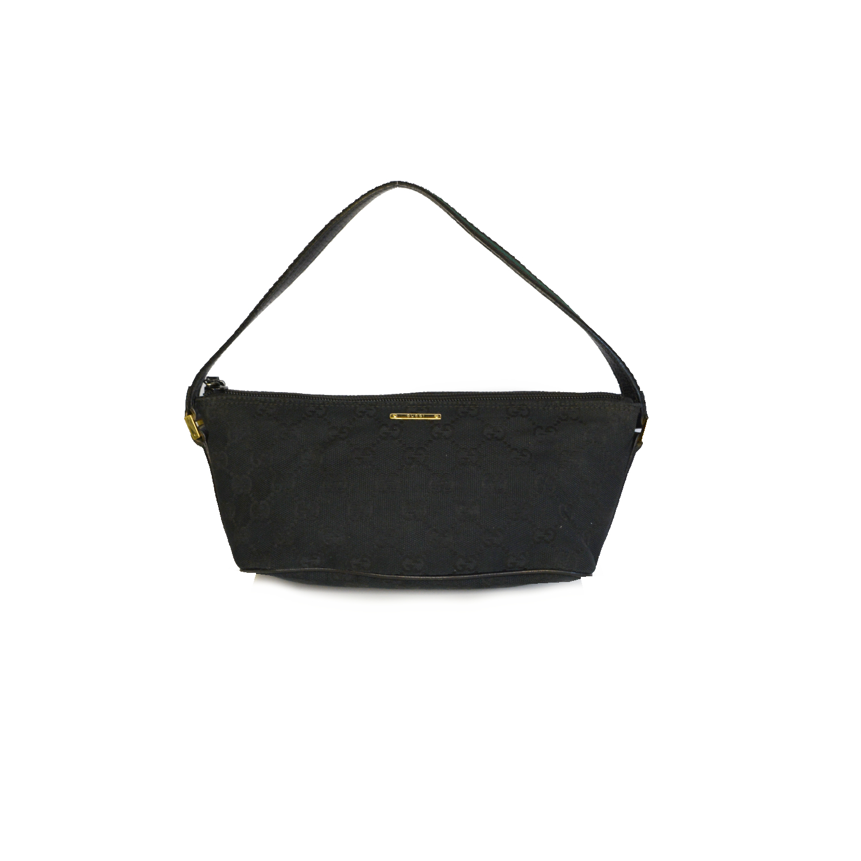 Vintage Gucci Monogram Mini Baguette Shoulder Bag in Black | NITRYL