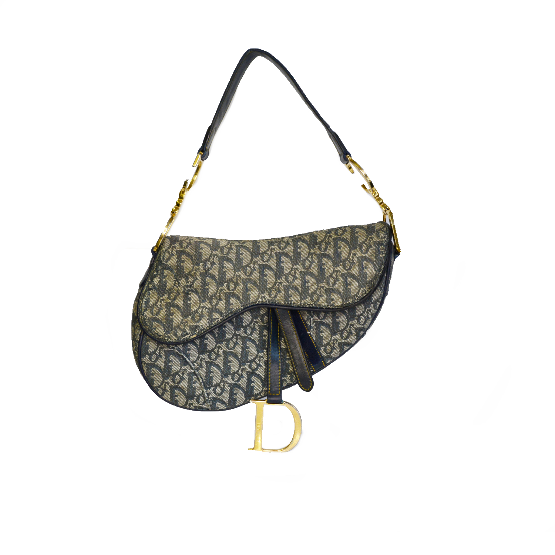 Vintage Dior Monogram Saddle Bag in Navy and Gold | NITRYL