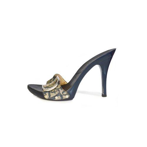 Vintage Dior Monogram Heels in Navy Blue | NITRYL