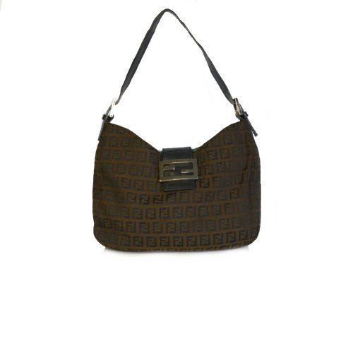 Vintage Fendi Zucchino Monogram Shoulder Bag in Dark Brown | NITRYL