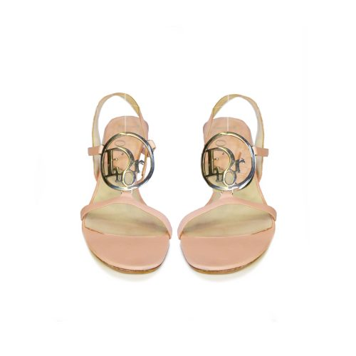 Vintage Dior Strappy Heeled Sandals with Logo in Pink Size 4 | NITRYL