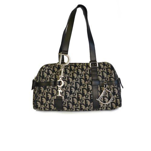 Vintage Dior Monogram Baguette Bag with Spellout Strap in Black | NITRYL