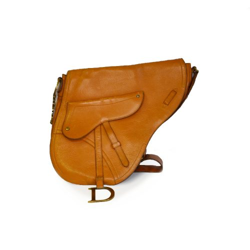 Vintage Dior Large Leather Side Saddle Bag in Tan | NITRYL
