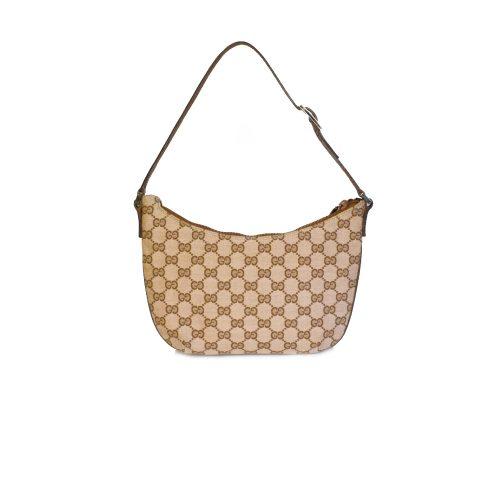 Vintage Gucci Monogram Crescent Mini Shoulder Bag in Beige / Blush | NITRYL