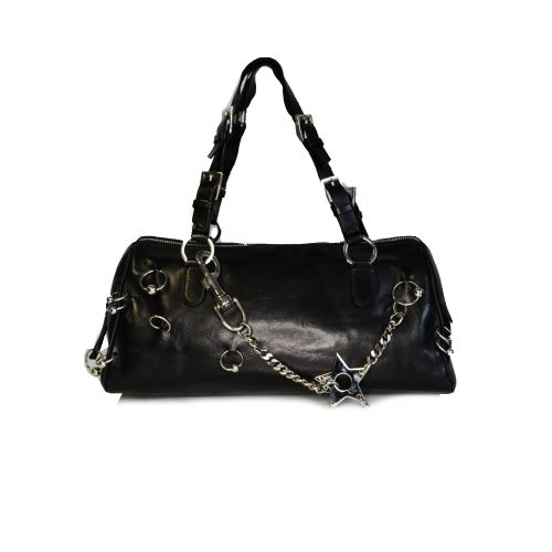 Vintage Dior by John Galliano Piercing Leather Baguette Bag in Black | NITRYL