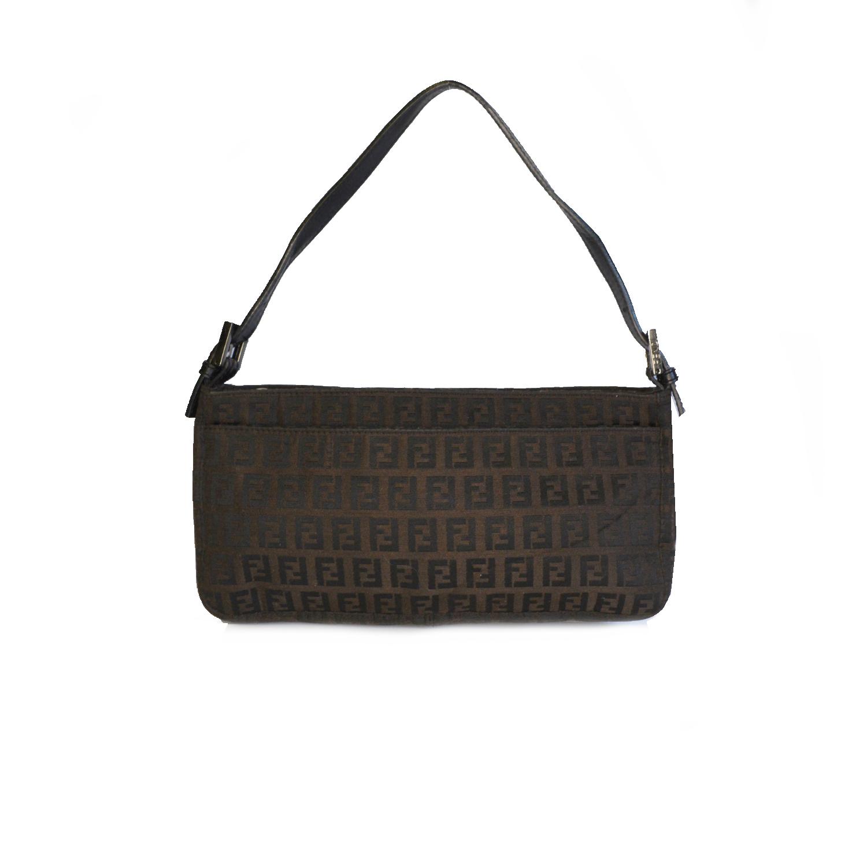 Vintage Fendi Zucchino Monogram Shoulder Baguette Bag in Brown | NITRYL