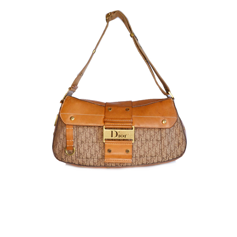 Vintage Dior Monogram Columbus Shoulder Bag in Brown | NITRYL