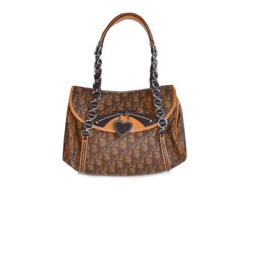 Vintage Dior Monogram Shoulder Bag in Brown | NITRYL
