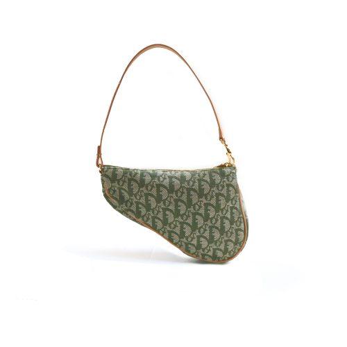 Vintage Dior Monogram Mini Saddle Bag in Green | NITRYL