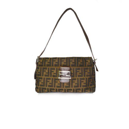 Vintage Fendi Zucca Monogram Shoulder Baguette Bag | NITRYL