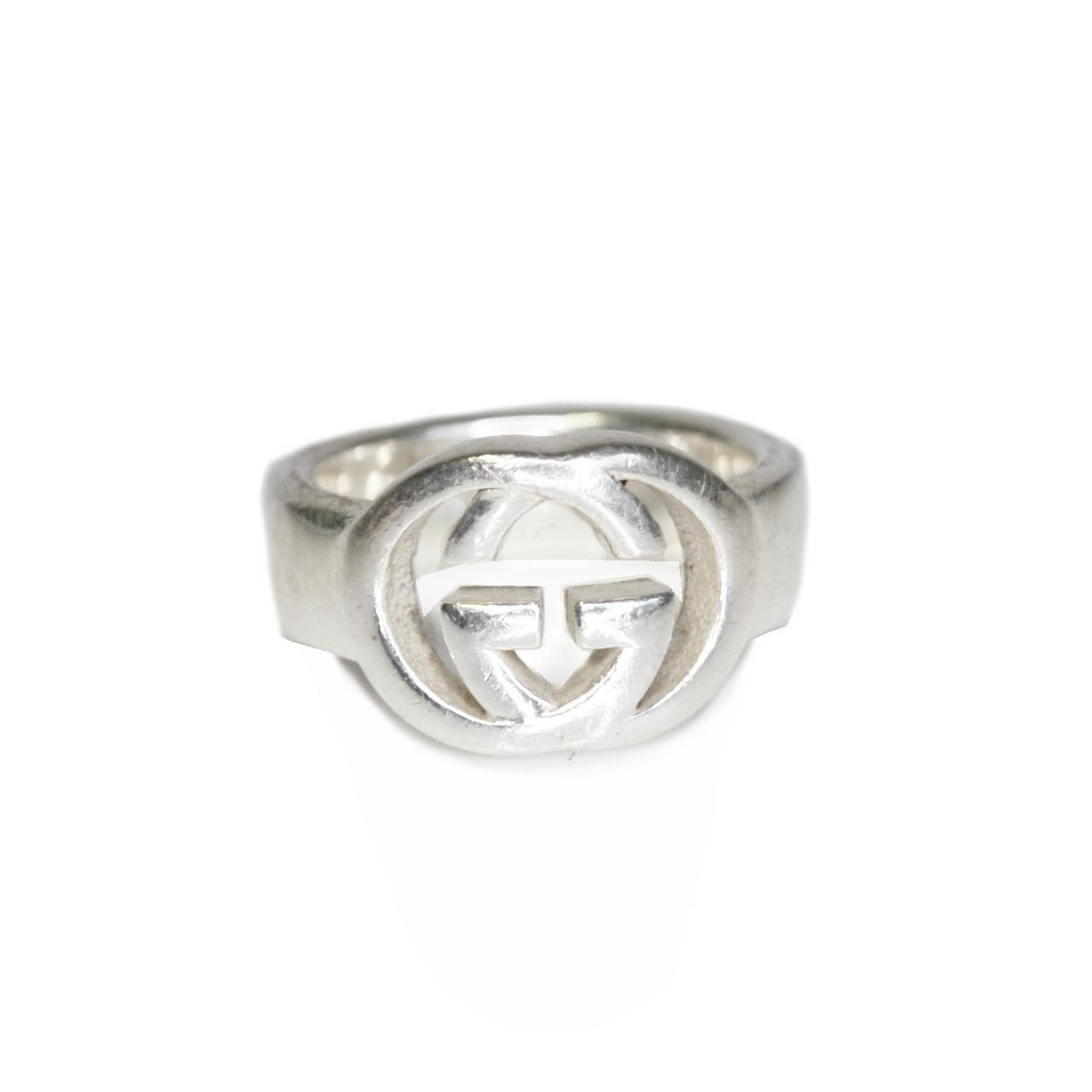 Vintage Gucci GG Logo Signet Ring in Solid Silver | NITRYL