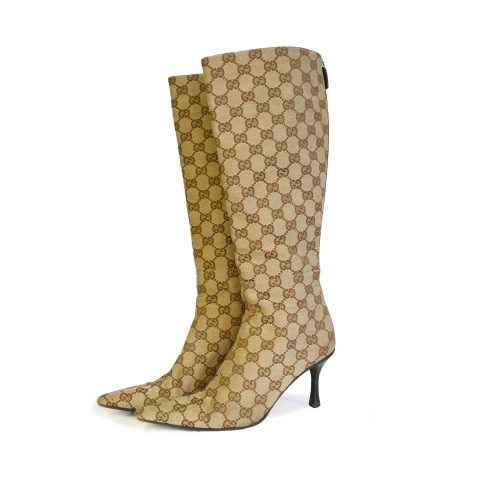 Vintage Gucci Monogram Point Toe Boots in Beige UK 3 | NITRYL