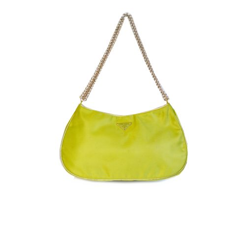 Vintage Prada Satin Mini Shoulder Bag in Lime Green   NITRYL