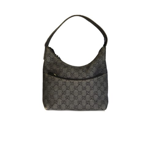 Vintage Gucci Monogram Shoulder Bag in Black / Grey | NITRYL