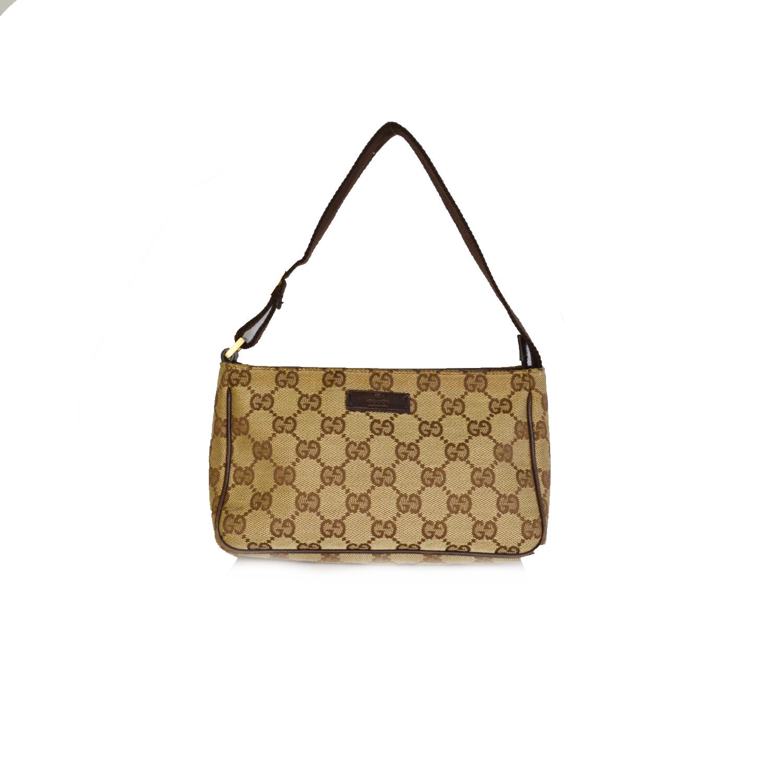 Vintage Gucci Monogram Mini Pochette Shoulder Bag in Beige | NITRYL