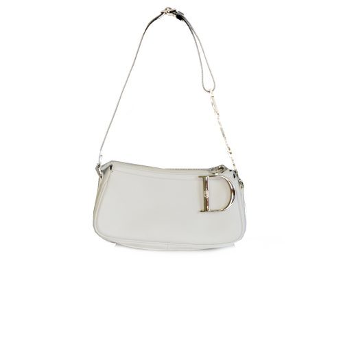 Rare Dior Leather Baguette Bag with Spell-out strap in white | NITRYL