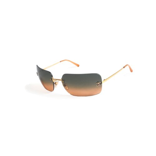 Vintage Chanel Rimless Ombre Sunglasses in Orange and Teal   NITRYL