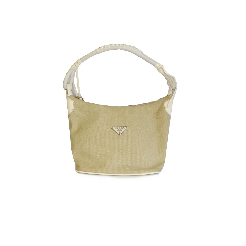 Prada Canvas Shoulder Bag in Beige | NITRYL