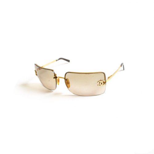 Vintage Chanel Diamante Rimless Ombre Sunglasses in Gold   NITRYL