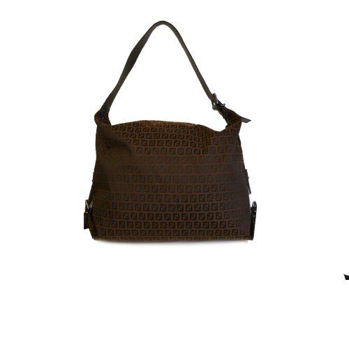 Fendi Zucchino Monogram Large Shoulder Tote in Brown | NITRYL
