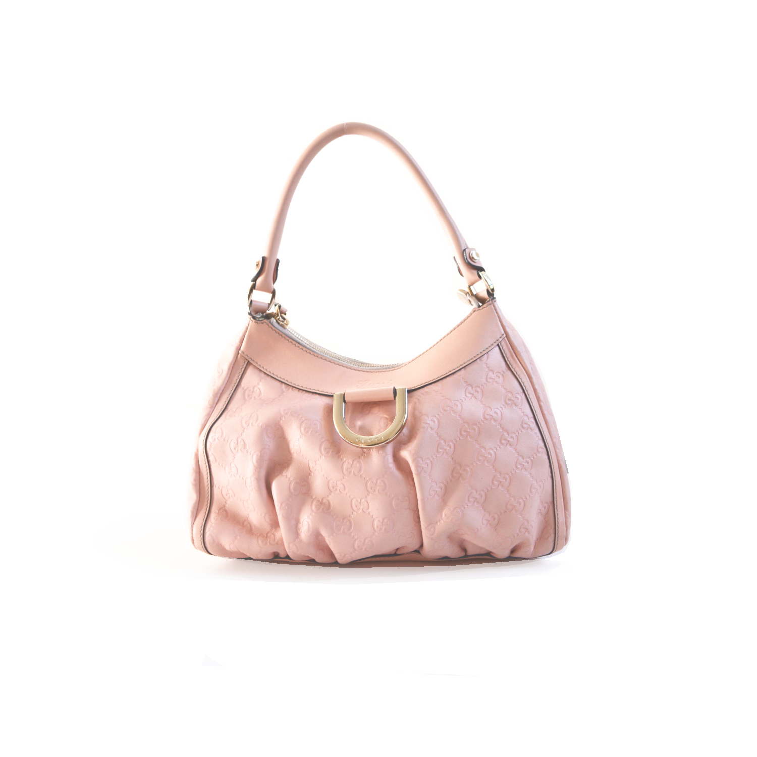 Vintage Gucci Monogram Leather Hobo Bag in Baby Pink | NITRYL