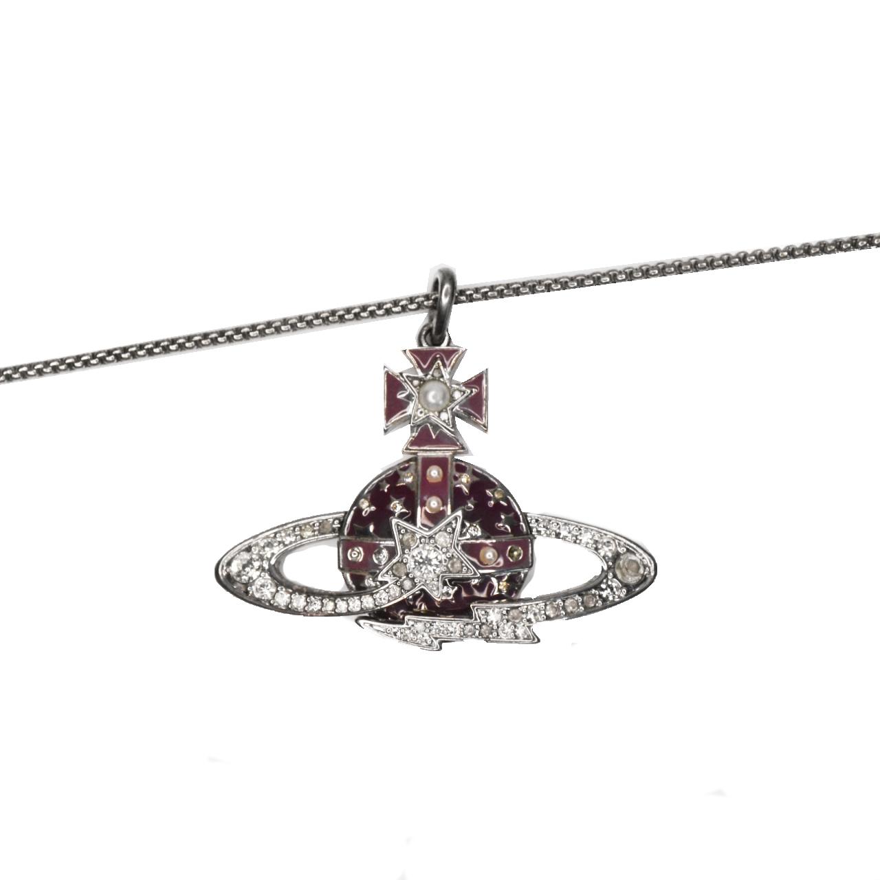 Vivienne Westwood Diamante Enamel Large Orb Necklace in Purple   NITRYL