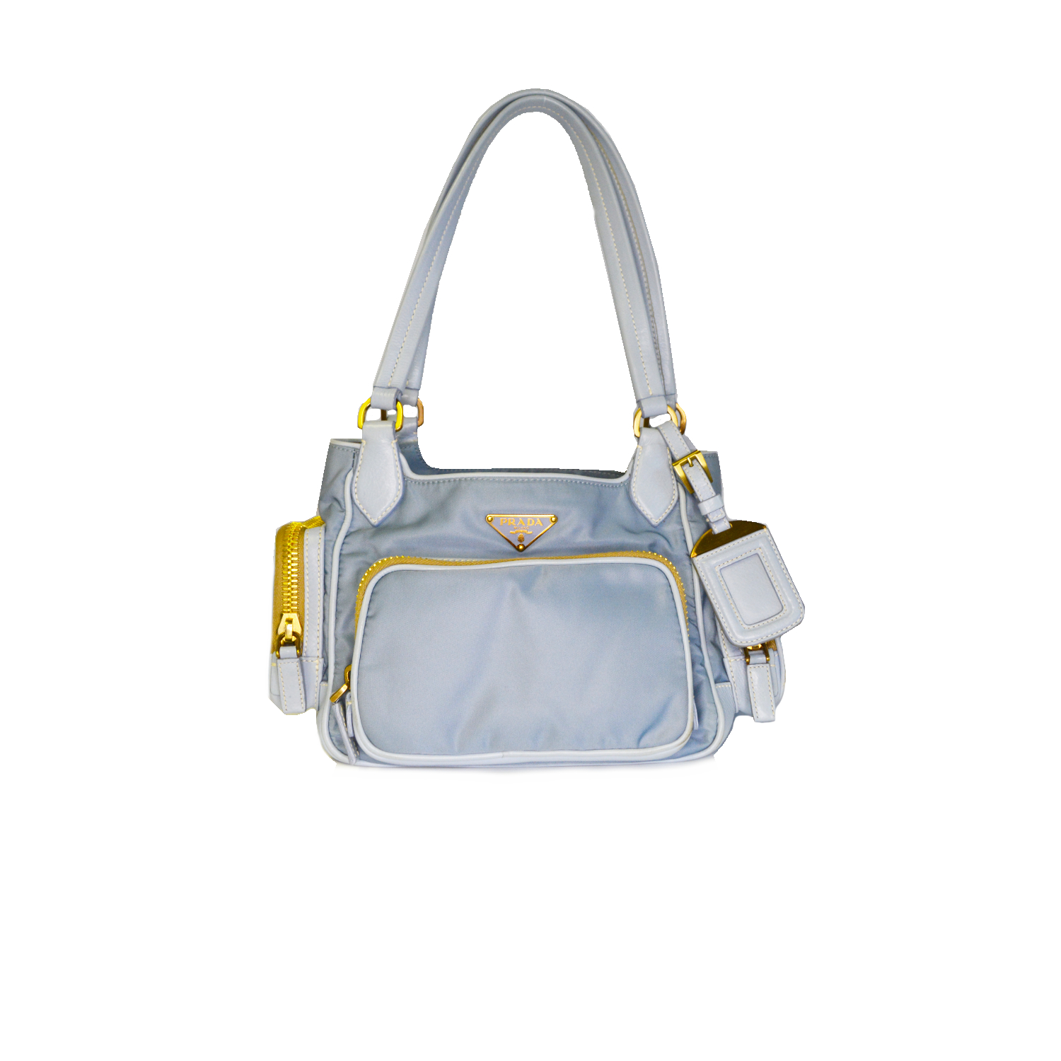 Vintage Prada Nylon Bowler Bag in Baby Blue and Gold | NITRYL