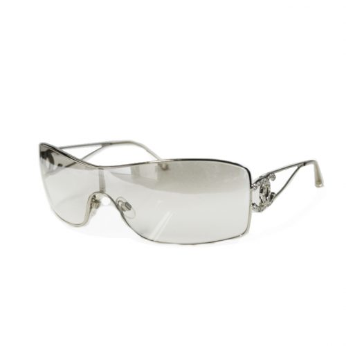 Vintage Chanel Diamante Rimless Shield Sunglasses in Silver | NITRYL