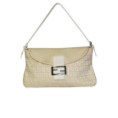 Vintage Fendi Zucchino Monogram Baguette Bag in Cream | NITRYL
