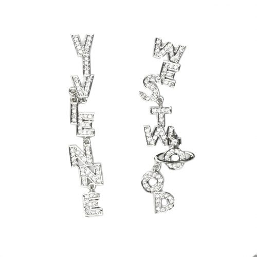 Vivienne Westwood Diamante Spell-Out Logo Drop Earrings in Silver | NITRYL