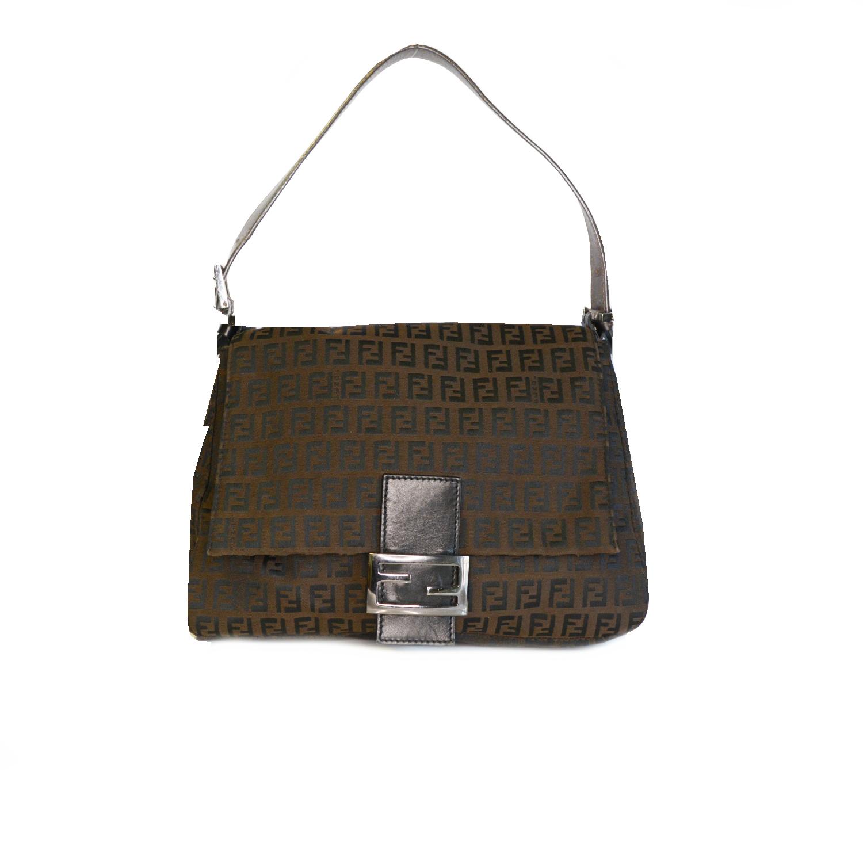 Vintage Fendi Zucchino Mamma Baguette Shoulder Bag in Brown | NITRYL