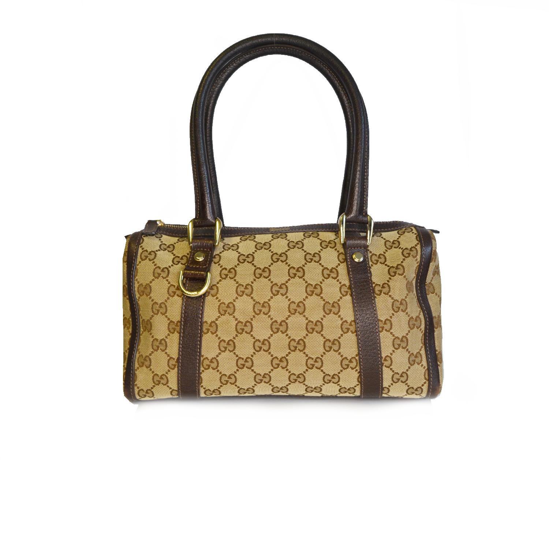 Vintage Gucci Monogram Shoulder Bowling Bag in Beige | NITRYL