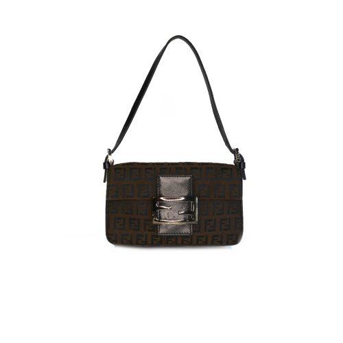 Vintage Fendi Zucchino Monogram Micro Baguette Mini Shoulder Bag in Brown | NITRYL